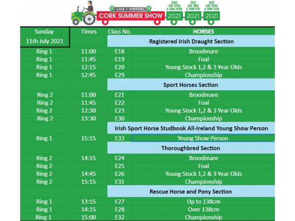 Times announced for Horse & Pony Show